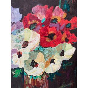 Framed Floral Still Life Primitive Original Art